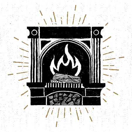 label with textured fireplace  illustration.