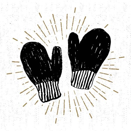 mittens: drawn label with textured mittens  illustration.