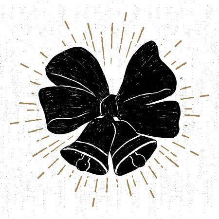 jingle bells: drawn label with textured jingle bells illustration.