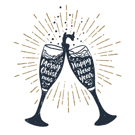 drawn label with textured champagne glasses illustration and Merry Christmas and Happy New Year lettering.