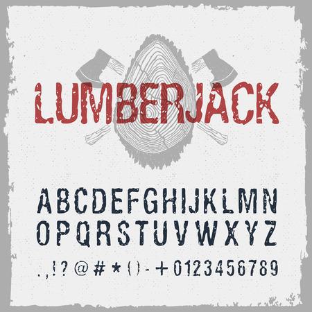 Disegnato carattere boscaiolo. lettere alfabeto latino, numeri e segni. Archivio Fotografico - 68171713