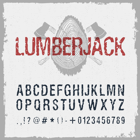 drawn lumberjack font. Latin alphabet letters, numbers, and signs.