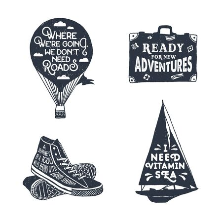 Hand drawn textured vintage labels set with hot air balloon, luggage, sneakers, and yacht vector illustrations and lettering.