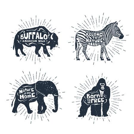 손으로 그린 빈티지 배지 버팔로, 얼룩말, 코끼리, 고릴라 벡터 일러스트와 영감 글자를 사용 하여 설정합니다. 스톡 콘텐츠 - 70737131