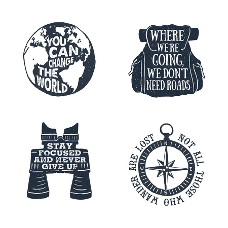 ruck sack: Hand drawn textured vintage labels set with planet Earth, backpack, binoculars, and windrose vector illustrations and lettering.