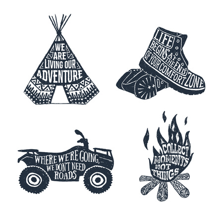 Hand drawn textured vintage labels set with teepee, boots, quad bike, and bonfire vector illustrations and lettering.
