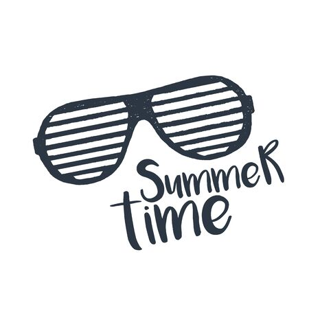Hand drawn 90s themed badge with striped sunglasses textured vector illustration and Summer time inspirational lettering.