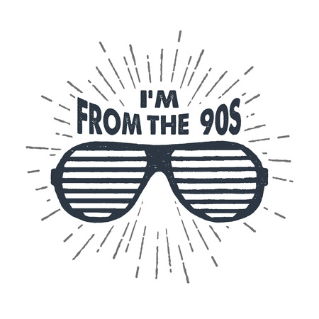 Hand drawn 90s themed badge with striped sunglasses textured vector illustration and Im from the 90s inspirational lettering.