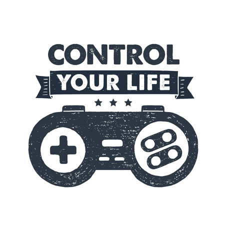 Hand drawn 90s themed badge with gamepad textured vector illustration and Control your life inspirational lettering.