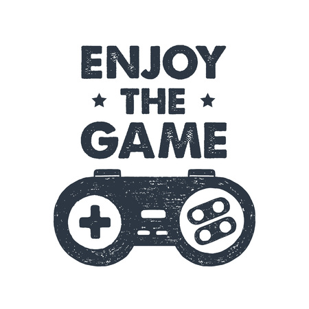 Hand drawn 90s themed badge with gamepad textured vector illustration and Enjoy the game inspirational lettering.