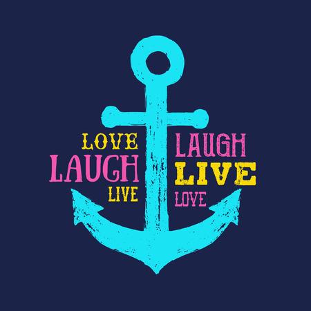 """Memphis stijl inspirerende badge met hand getrokken getextureerde anker vectorillustratie en """"Live laugh love"""" belettering."""
