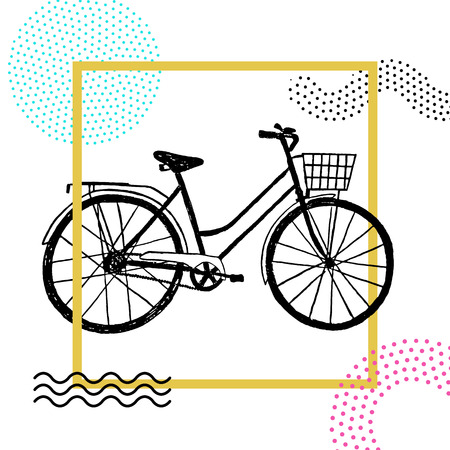 Memphis style badge with a hand drawn bicycle vector illustration on white background.