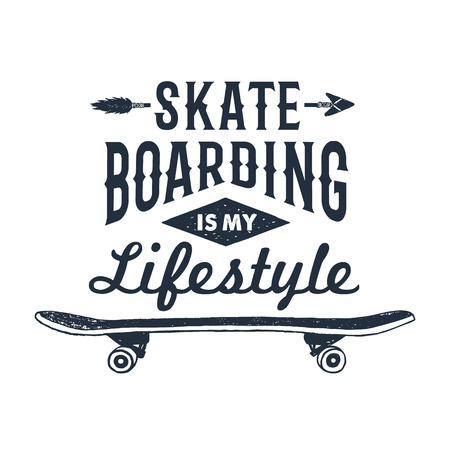 Hand drawn 90s themed badge with skateboard textured vector illustration and Skateboarding is my lifestyle inspirational lettering. Ilustracja
