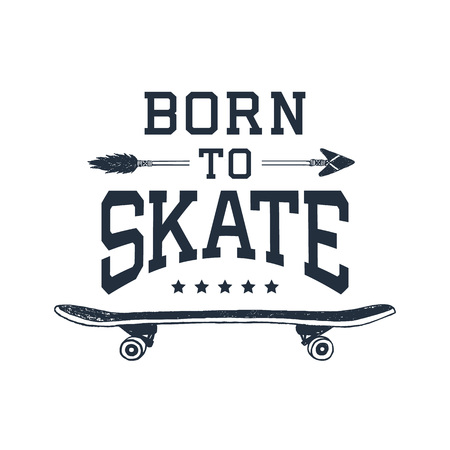 90s: Hand drawn 90s themed badge with skateboard textured vector illustration and Born to skate inspirational lettering.