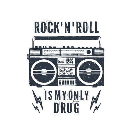 Hand drawn 90s themed badge with boombox recorder textured vector illustration and Rocknroll is my only drug inspirational lettering.