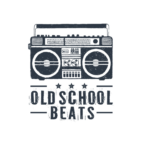 Hand drawn 90s themed badge with boombox recorder textured vector illustration and Oldschool beats lettering. Illustration
