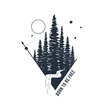 Hand drawn inspirational badge with textured forest vector illustration and Born to be free lettering. Illustration