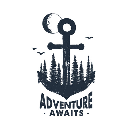 Hand drawn inspirational badge with textured forest on anchor vector illustration and Adventure awaits lettering.