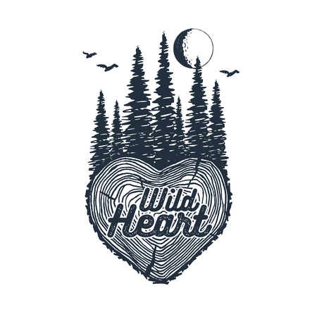 Hand drawn inspirational badge with textured forest vector illustration and