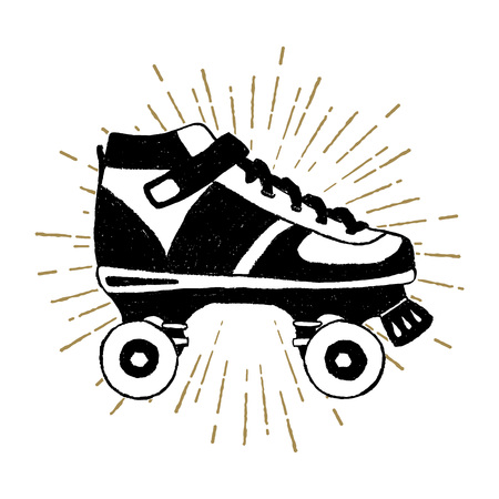 Hand drawn 90s themed icon with roller skates textured illustration.