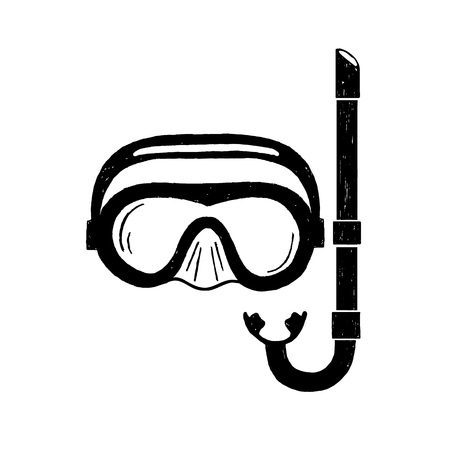 손으로 그려진 된 질감 된 스노클링 마스크 그림.