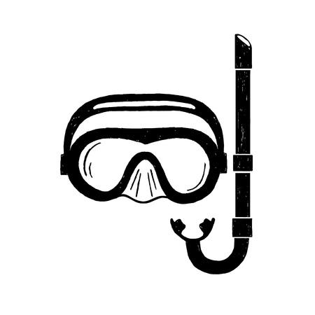 Hand drawn textured snorkeling mask illustration. Illustration