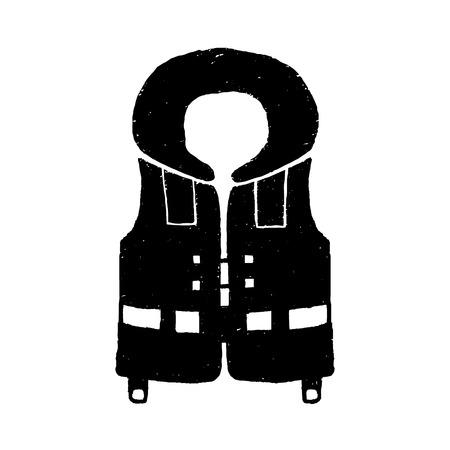 Hand drawn textured diving life vest illustration. Illustration