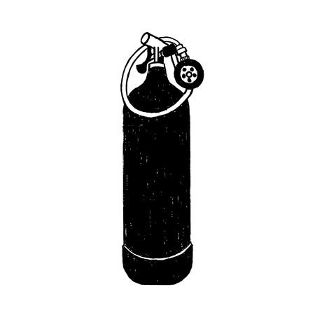 손으로 그려진 된 질감 된 다이빙 산소 탱크 그림입니다. 일러스트