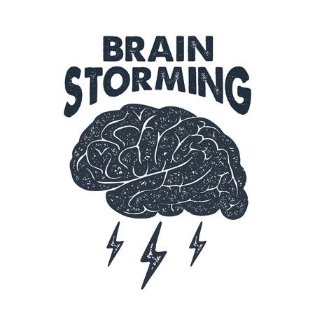 """Hand getekend inspirerende label met getextureerde hersenen illustratie en """"Brain bestorming"""" belettering. Stock Illustratie"""