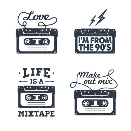 Hand drawn 90s themed set of badges with cassette tape textured