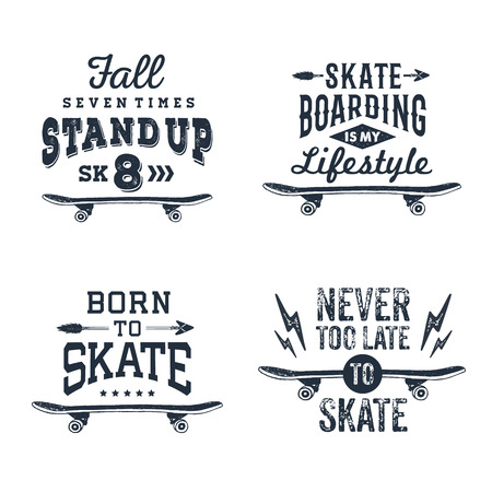 Hand drawn 90s themed set of badges with skateboard textured