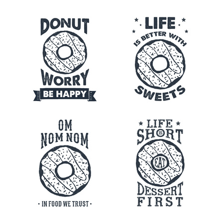 Hand drawn labels set with textured donut vector illustration and lettering.