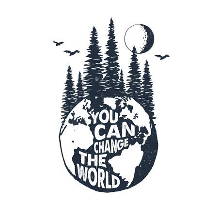 手描きのテクスチャの惑星地球のベクトル図と心に強く訴えるバッジと「世界を変える」のレタリング。  イラスト・ベクター素材