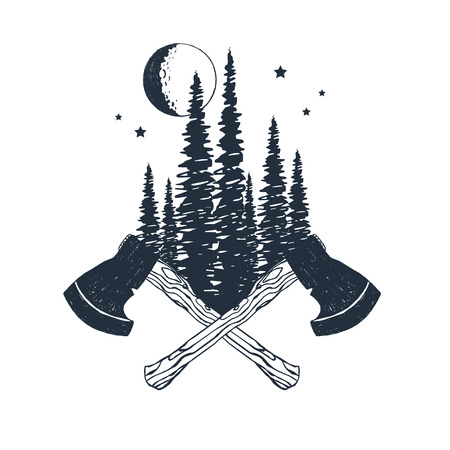 Hand drawn inspirational badge with textured forest and crossed axes vector illustration.