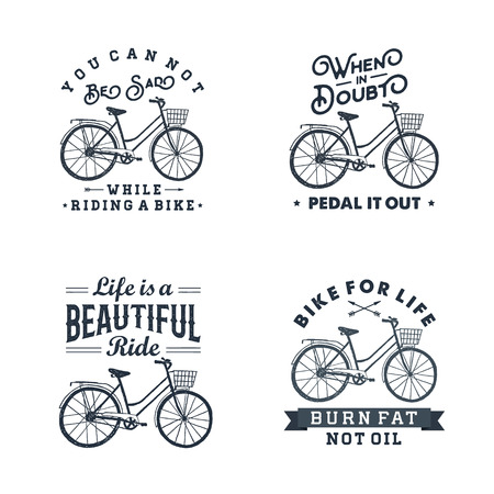 Hand drawn textured vintage labels set with bicycle