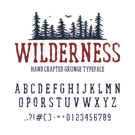 Hand drawn Wilderness font. Latin alphabet vector letters, numbers, and signs. PIne trees vector illustration. 矢量图像