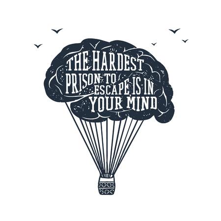 """Hand getekend inspirerende label met getextureerde hersenen vectorillustratie en """"De moeilijkste gevangenis om te ontsnappen is in je geest"""" belettering."""