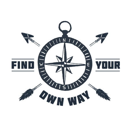 Hand drawn inspirational label with textured compass rose vector illustration and Find your own way lettering. Illustration