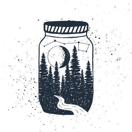 手には、jar のベクトル図に織り目加工の森で感動のラベルが描画されます。  イラスト・ベクター素材