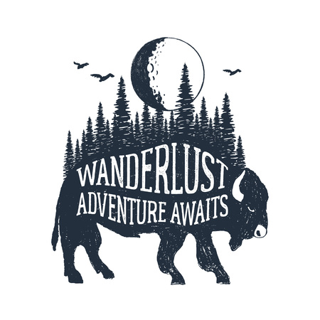 Hand drawn inspirational label with textured buffalo vector illustration and Wanderlust. Adventure awaits lettering.