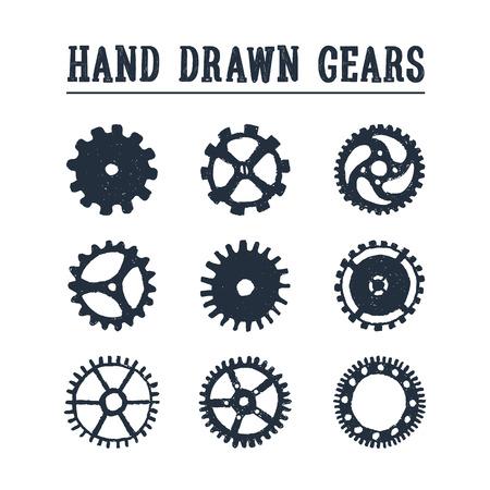 手描きテクスチャ歯車のアイコンを設定します。ベクトル イラスト。