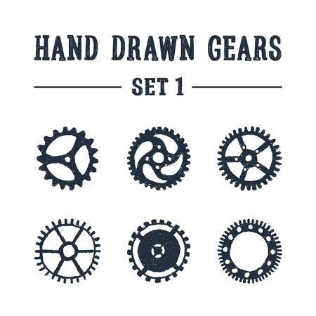 手描きは、歯車のアイコンを設定 1 テクスチャ。ベクトル イラスト。
