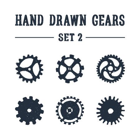手描きは、歯車のアイコンを設定 2 テクスチャ。ベクトル イラスト。