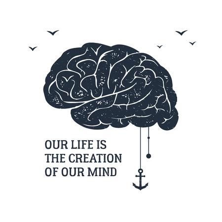 質感脳ベクトル図で描かれた感動的なラベルの手し、「私たちの生活は私たちの心の創造」のレタリングします。