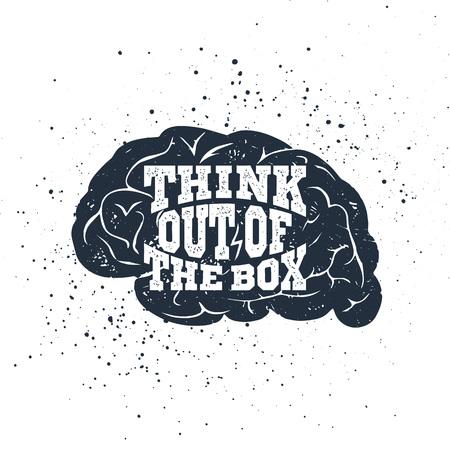 """손으로 그려진 된 영감 레이블 질감 된 두뇌 벡터 일러스트 레이 션과 """"상자 밖으로 생각""""글자."""