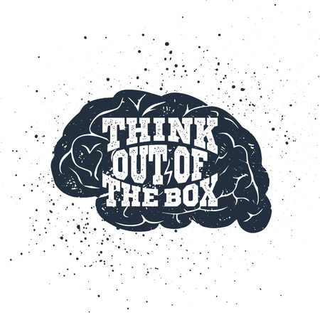 Hand drawn inspirational label with textured brain vector illustration and Think out of the box lettering.