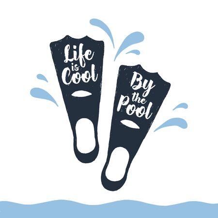 手描きフィン テクスチャのベクトル図と「人生はプールでクールな」レタリング。