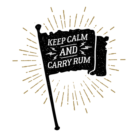 Hand drawn vintage pirate flag textured vector illustration and Keep calm and carry rum funny lettering. Illustration