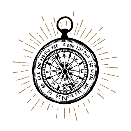 Hand drawn vintage compass textured vector illustration.