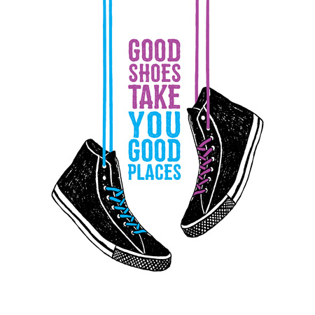 Hand drawn badge with sneakers textured vector illustration and